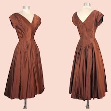 Vintage 1950s Copper Satin Full Skirted Party Dress XS