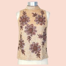 Vintage 1960s Valentina Ltd. Bronze & Cream Sunflower Beaded Shell XS