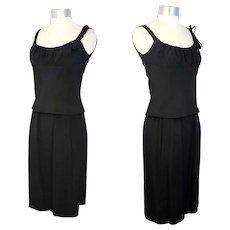 Vintage 60s Mollie Parnis Silk Faille Little Black Dress XS