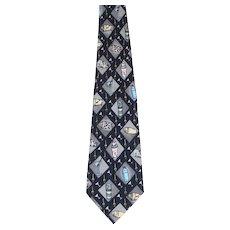 Vintage 1990s Nicole Miller Blue Martini Novelty Print Silk Necktie