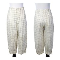 Vintage 1920s Tattersall Check Linen Plus Fours or Golf Pants XS