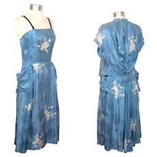 Vintage c.1950 Tina Leser Blue Asian Silk Damask Dress w/Tassels XS/S