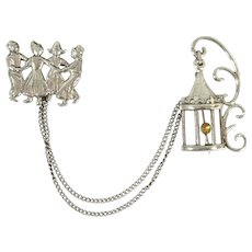 Vintage 40s/50s Lang Sterling Chatelaine Brooches Dutch Children & Lantern