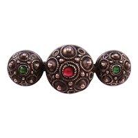 Victorian 800 Silver Etruscan Revival Bar Pin