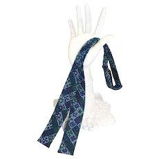 Vintage c.1960 Ernst Skinny Cotton Bow Tie Green/Blue Batik Print