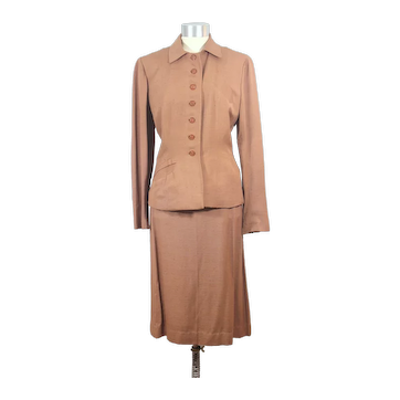 Vintage 1950s Light Brown Rayon Shantung Skirt Suit M