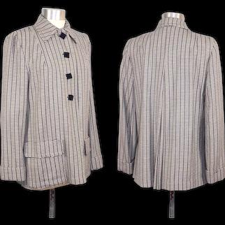 Vintage 40s/50s Navy & Cream Wool Maternity Swing Jacket S/M