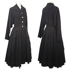 Vintage 40s/50s Black Wool Gabardine Coat w/Rhinestone Buttons S/M