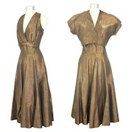 Vintage 1950s Gold Lamé Party Dress & Bolero Jacket S