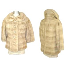Vintage 1960s Blonde or Palomino Mink Jacket w/Jewelled Buttons Filene's XS