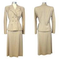 Vintage 1940s Golden Beige Wool Skirt Suit S/M