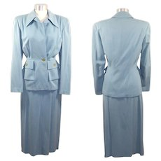 Vintage 40s/50s Powder Blue Wool Gabardine Skirt Suit XS