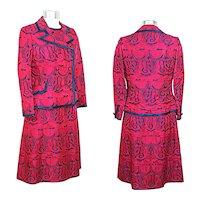 Vintage 1960s Navy & Magenta Brocade Dress Suit XS/S