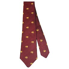 Vintage c.1980 Horchow Wine Silk Novelty Club Tie w/Gold Lions