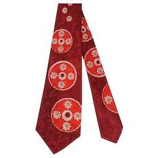 Vintage 1950s Red Wheel Trio Jacquard Rayon Satin Wide Tie