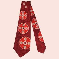 Vintage 1950s Red Wheel Trio Jacquard Rayon Satin Wide Tie