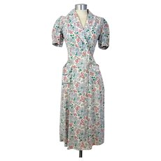 Vintage 30s/40s Cornflower Print Feedsack Dressing Gown or Wrapper XS/S