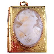 Vintage 1930s Victorian Revival Carved Shell Cameo Locket