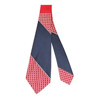 NOS Vintage 1940s Pilgrim Cravats Red, White & Blue Rayon Wide Tie