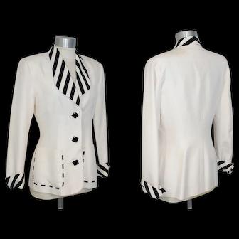 Vintage 80s/90s Lillie Rubin Black & Cream Silk Shantung Jacket 6