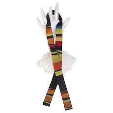 Vintage c.1960 Arthur L. Johnson Silk Woven Stripes Batwing Bow Tie