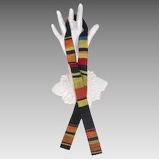 Vintage c.1960 Arthur L. Johnson SilkWoven Stripes Batwing Bow Tie