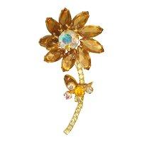 Vintage 1960s Juliana D & E Rhinestone Figural Flower Brooch