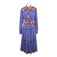 Vintage 1970s Koos Van Den Akker Blue Mixed Plaids Cotton Dress S/M