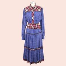 Vintage 1970s Koos Van Den Akker Blue Mixed Plaids Cotton Dress S/M