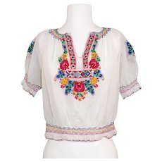 "Vintage c.1950 Hungarian Embroidered Cotton Peasant Blouse ""Artex"""
