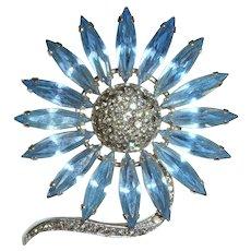 Vintage 60s Austrian Blue Rhinestone Daisy Brooch w/Pave Crystal Center
