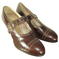 Deadstock Vintage 20s/30s Art Deco Brown Leather Porter's Brogues Pumps
