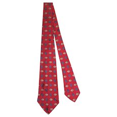 Vintage 1940s R.H.Stearns Crimson Silk Damask Tie w/Foulard Motifs