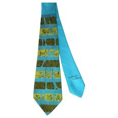 "Vintage 1950s Tina Leser Pictorial Silk Wide Tie ""Woodland Fantasy"""