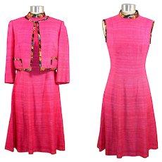 Vintage 1970s Vera Maxwell Pink Slub Silk Dress Suit S
