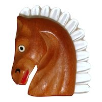 Vintage 1940s Lucite & Carved Wood Horse Head Brooch