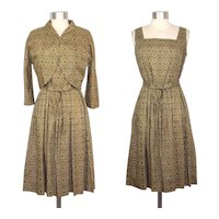 Vintage 1950s Green Medallion Print Cotton Dress & Bolero XS/S