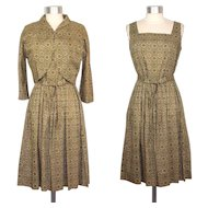 Vintage 1950s Green Medallion Print Cotton Dress & Bolero