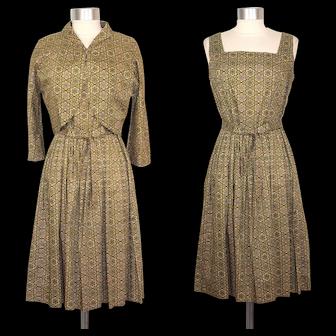 Vintage 1950s Green Medallion Print Cotton Dress & Bolero