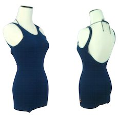 "Vintage 1930s Jantzen ""Shouldaire"" Navy Wool Bathing or Swim Suit XS"