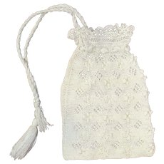 1910s Late Teens White Crochet Drawstring Purse or Reticule