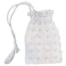 1910s White Crochet Drawstring Purse or Reticule