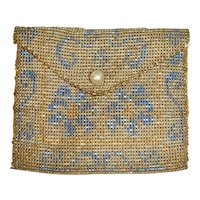 1920s Steel Beaded Coin Purse Envelope Flap & Pearl Button
