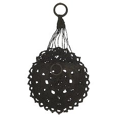 Antique c. 1900 Crocheted Round Black Miser's Purse w/Finger Ring