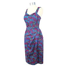 Vintage 50s/60s Metallic Floral Cotton Sarong Sundress/Playsuit S/M