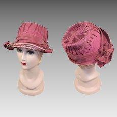 Vintage 1920s Mauve & Cream Embroidered Straw Hat