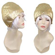 Vintage 1960s Christian Dior Chapeaux Gold Lamé Aviator Helmet Hat