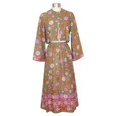 Vintage 1970s Tina Leser Dahlia Print Jacket & Skirt w/Petticoat S