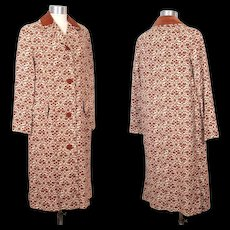 Vintage 1960s Main Street Print Raincoat w/Copper Velveteen Trim S/M