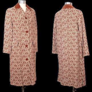Vintage 1960s Main Street Print Raincoat w/Copper Velveteen Trim S/M